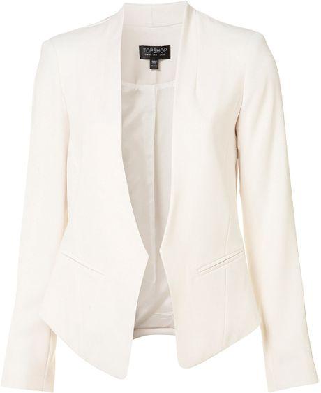 Topshop Crop Back Collarless Blazer in White (ivory)
