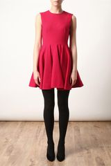 Alexander Mcqueen Stretch Crepe Wool Fluted Dress in Red (pink) - Lyst