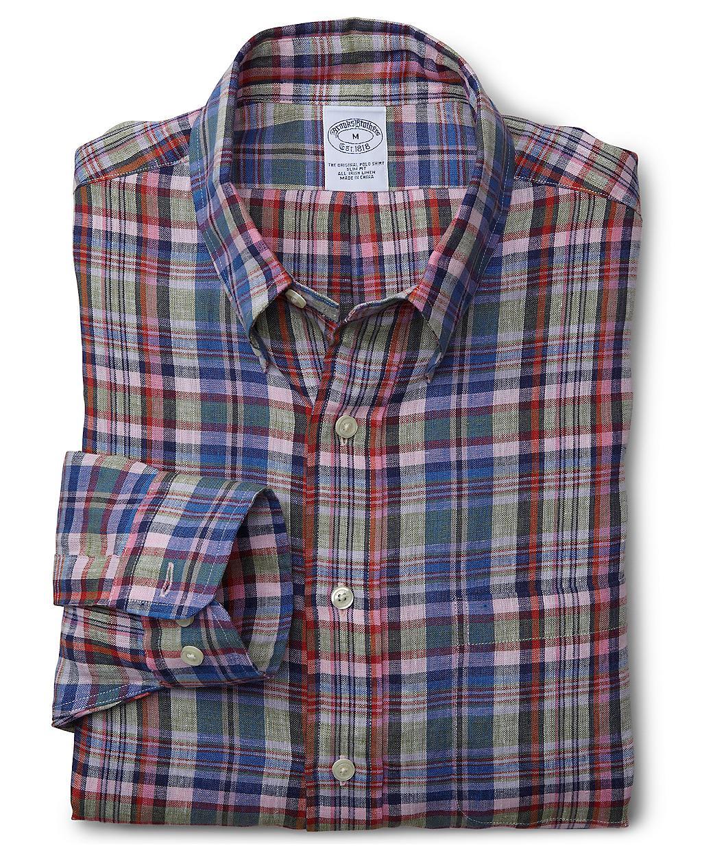 Brooks brothers slim fit multi plaid irish linen sport for Irish linen dress shirts