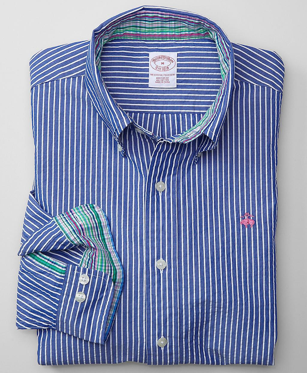 Brooks brothers regular fit ground stripe seersucker sport for Brooks brothers shirt size guide