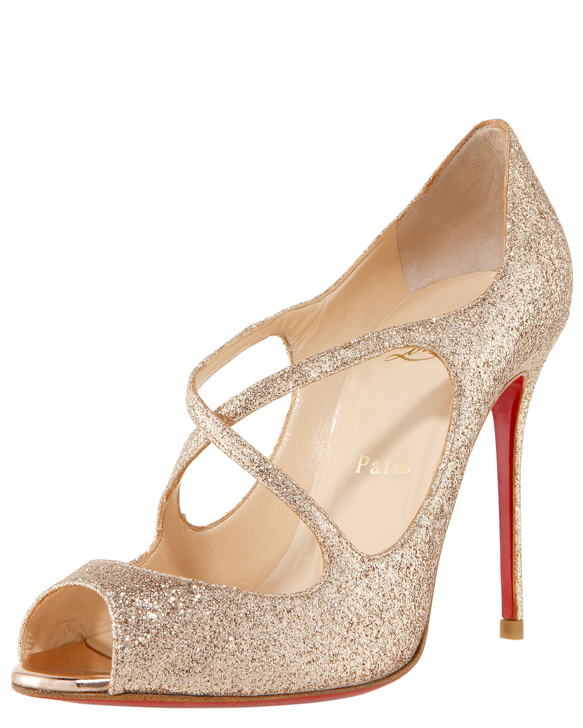 gold sparkly christian louboutin shoes