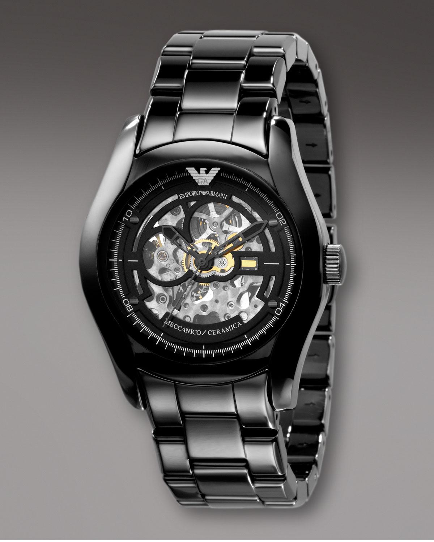 Emporio Armani Automatic Ceramic Watch In Black For Men