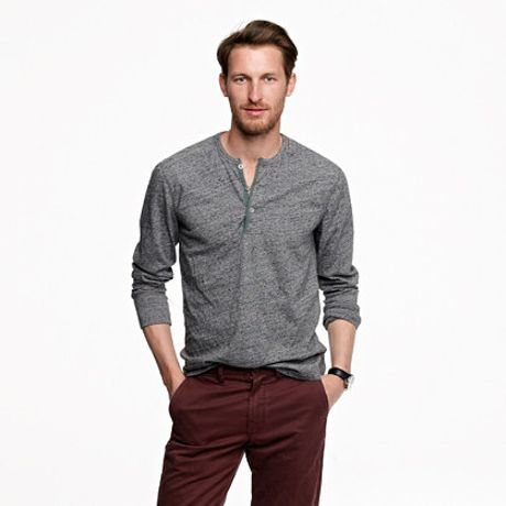 j crew flagstone marled henley in gray for hthr