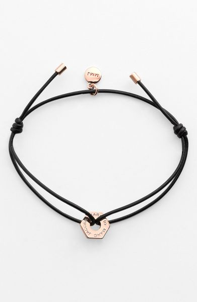 Marc By Marc Jacobs Leather Friendship Bracelet in Black (black/ rose gold) - Lyst