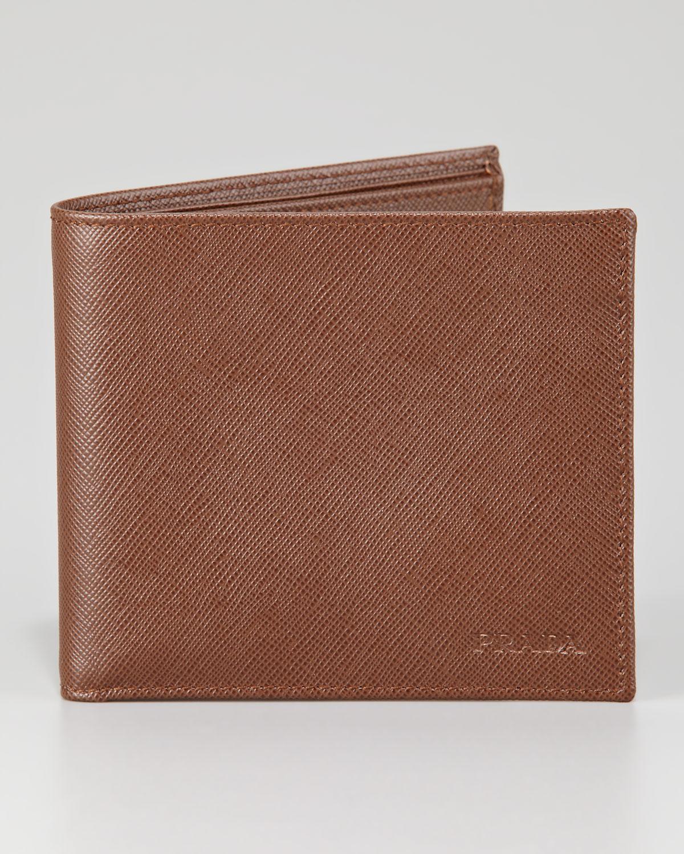 44e5697b85d05a ... closeout lyst prada saffiano bifold wallet in brown for men 5da32 3e0ca