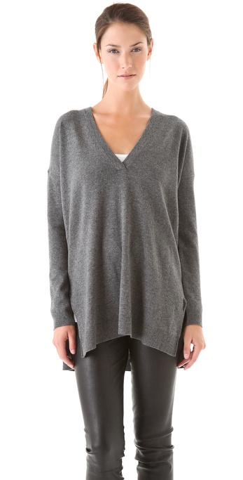 Vince V Neck Tunic Sweater in Gray | Lyst