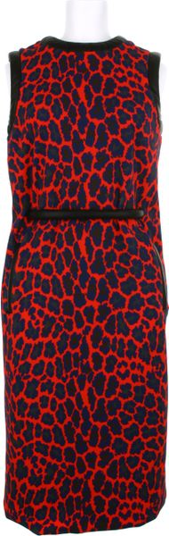 Christopher Kane Straight Sleeveless Dress in A Bend Of Polyamide and Elastane with A Red Leopard Pattern in Red