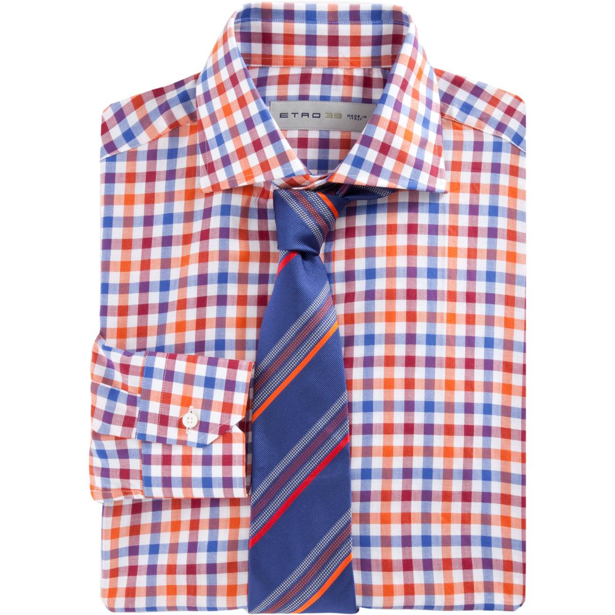 Etro Check Dress Shirt In Orange For Men Lyst