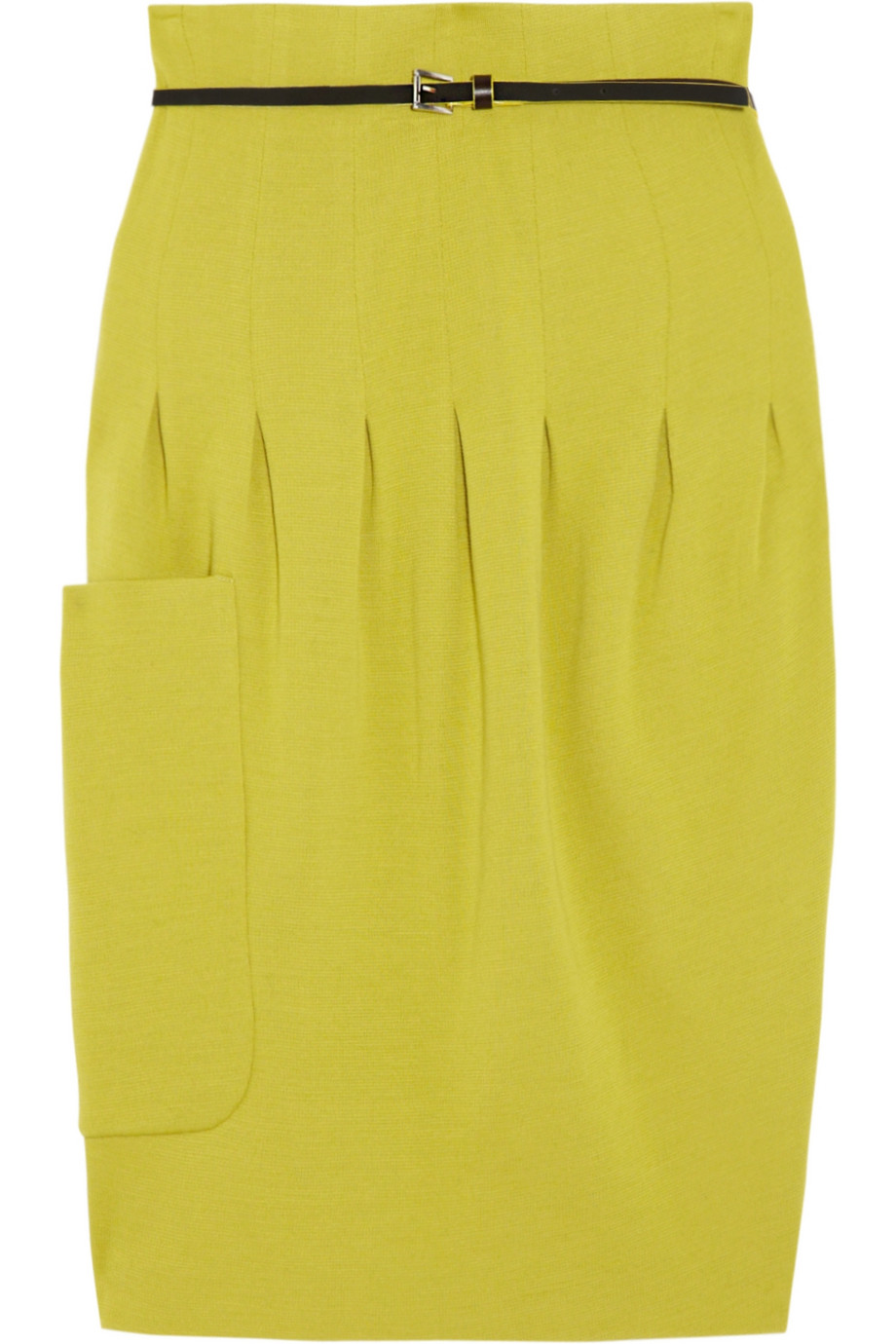 m missoni pleated wool blend skirt in yellow chartreuse