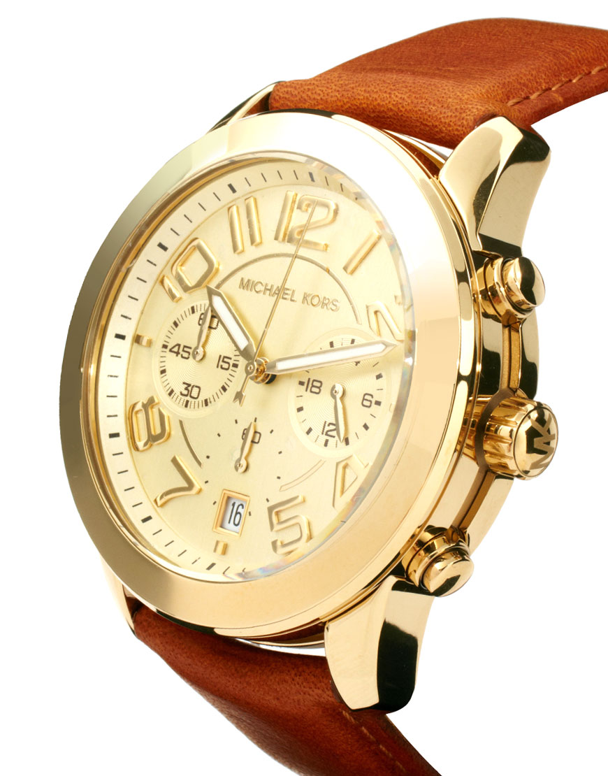 Lyst - Michael Kors Leather Strap Watch with Gold Chronograph Face ... 9502cf20e