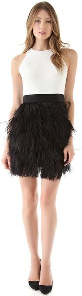 Milly Sasha Ostrich Feather Dress in Black (multi)