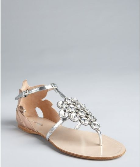 Miu Miu Silver and Rose Gold Leather Crystal Tstrap Sandals in Silver - Lyst