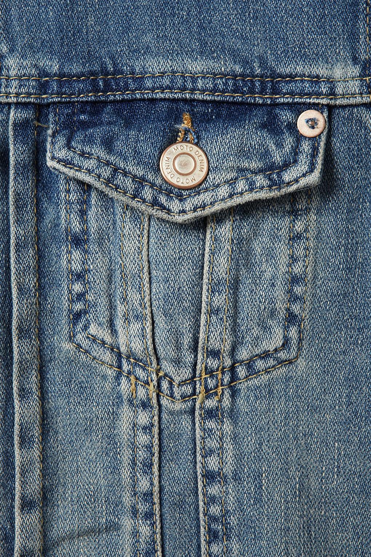 Lyst Topshop Moto Shoulder Spike Denim Jacket In Blue