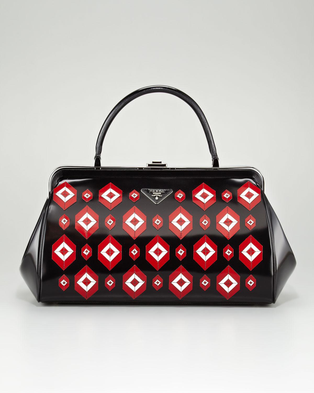 a4119b08253a Lyst - Prada Diamond Applique Doctor Bag in Red