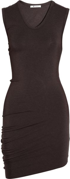 T By Alexander Wang Draped Stretchjersey Dress in Brown