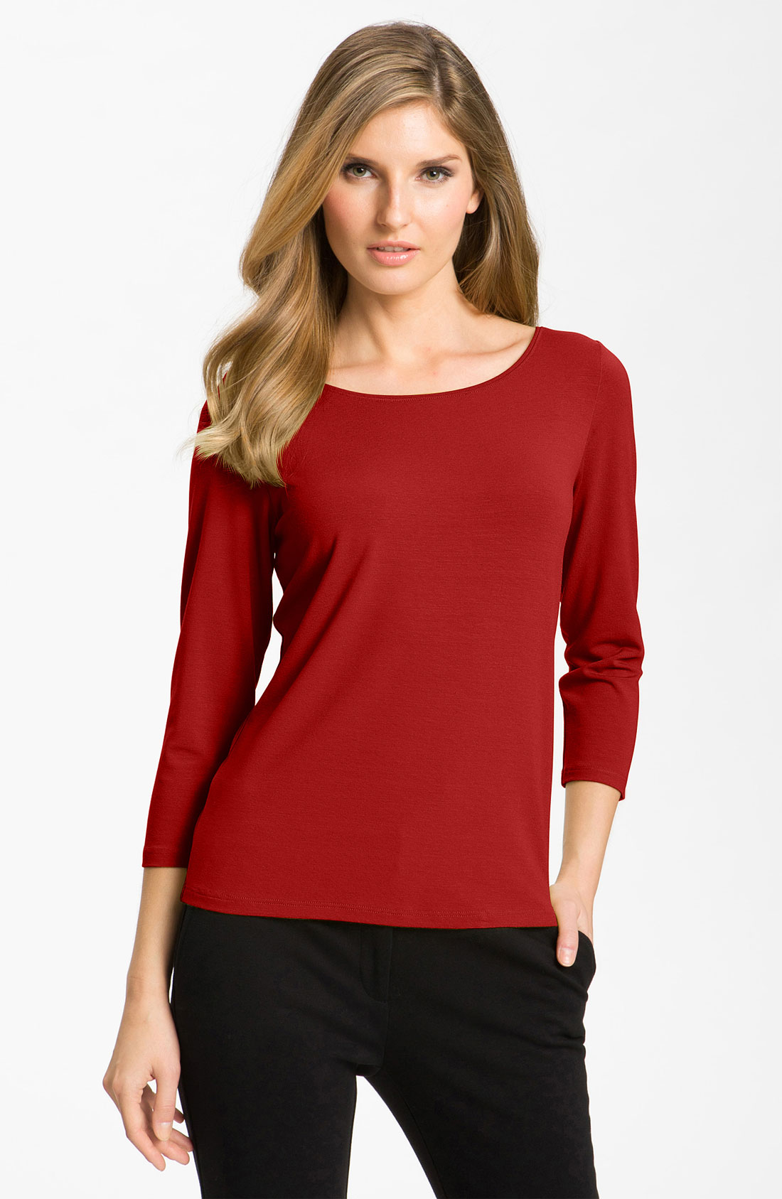 Eileen Fisher Ballet Neck Tee In Red Tomato Lyst