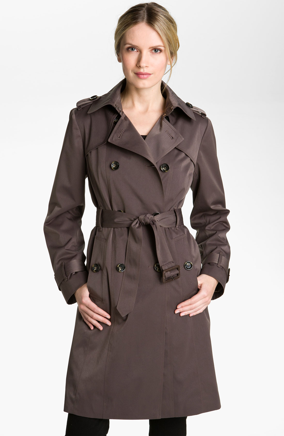 london fog double breasted rain trench coat in gray dark truffle lyst