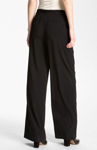 Nordstrom Collection Oxford Drape Wide Leg Pants in Black
