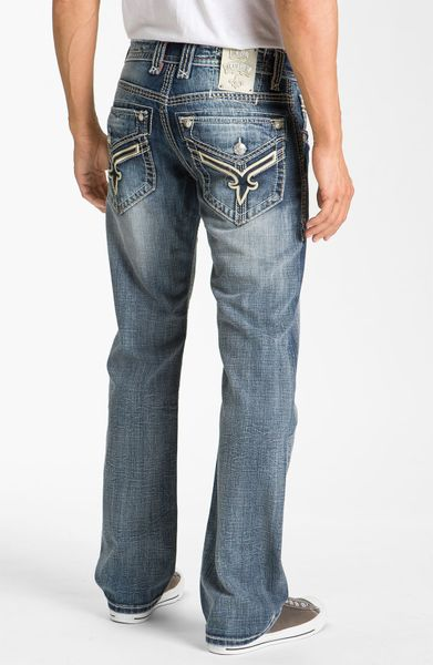 Rock Revival Chuck Relaxed Straight Leg Jeans In Blue For Men (medium Blue) | Lyst