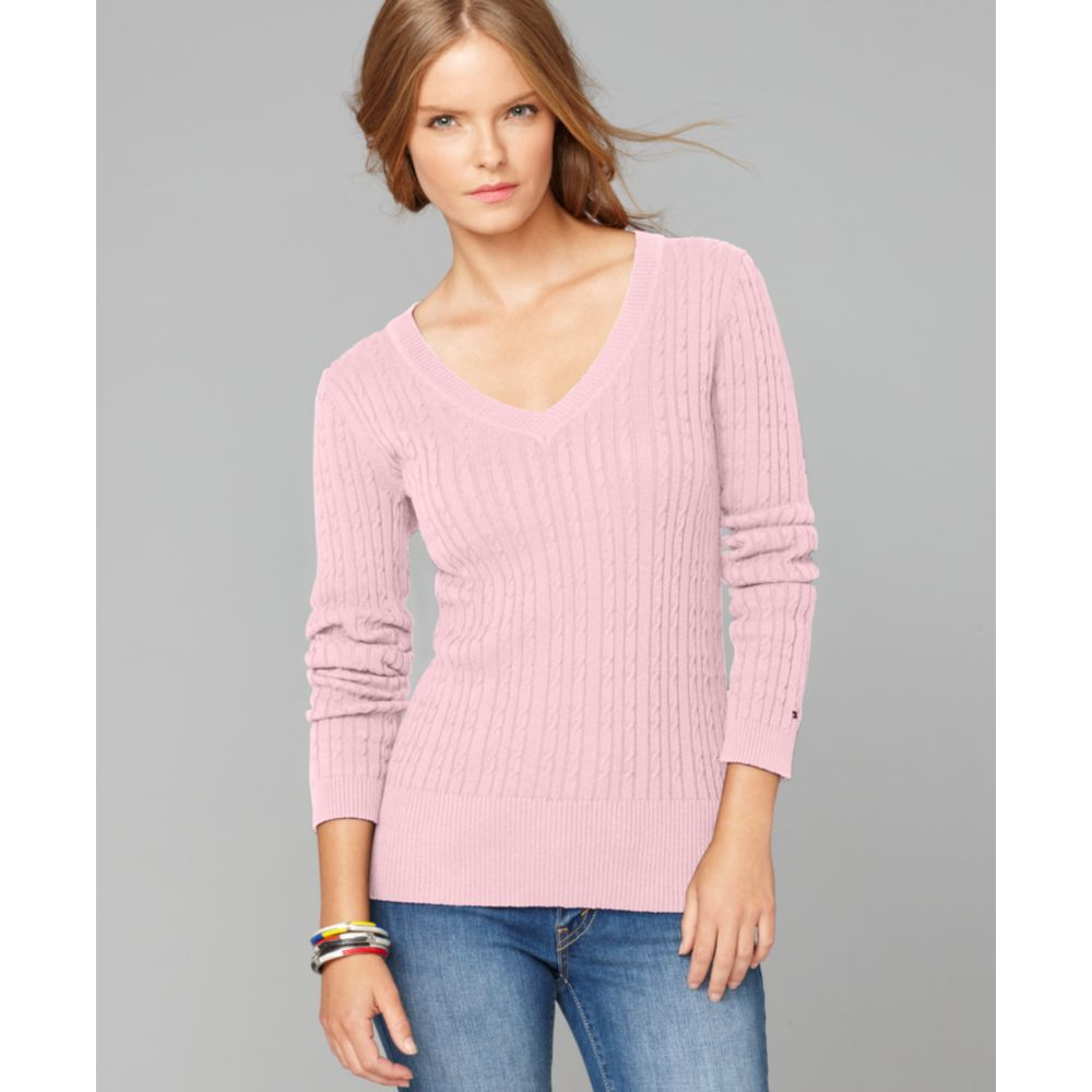 0d67f8d3a53 Tommy Hilfiger Pink Jenny Long Sleeve Solid Cable Knit Sweater