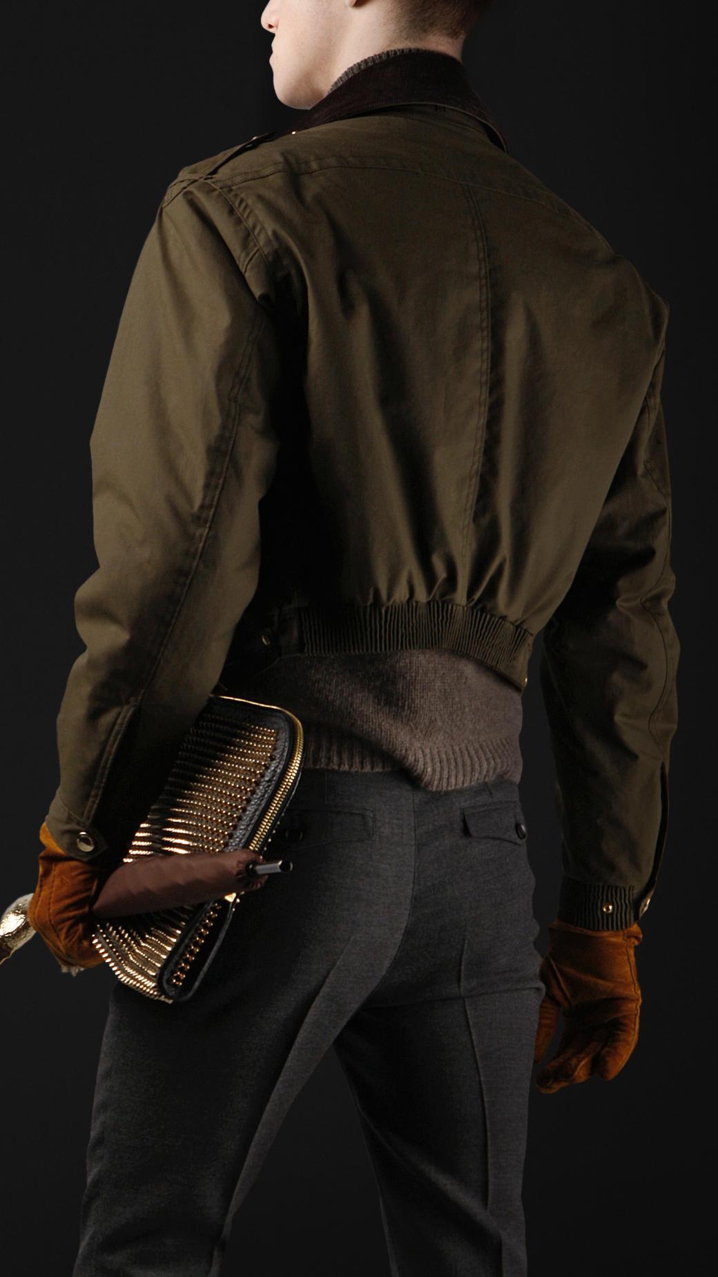 50346e18e Burberry Prorsum Green Cropped Waxed Cotton Bomber Jacket for men