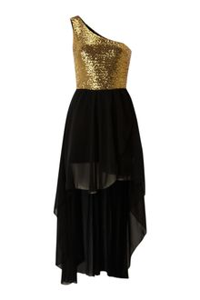 Black Sequin Dress on John Zack Belted Chiffon High Low Dress In Black   Lyst
