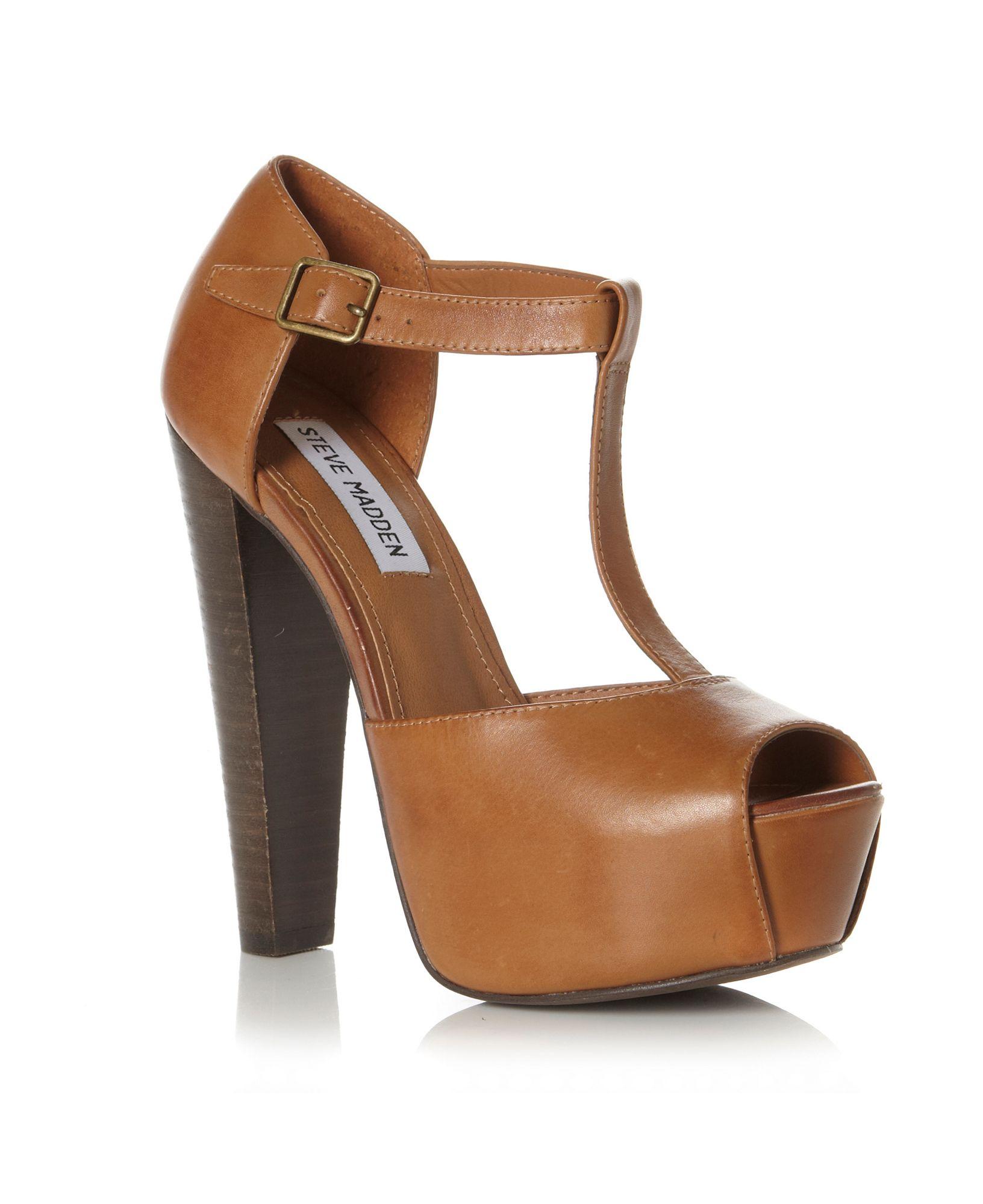 steve madden daquirri sm tbar platform sandals in brown lyst. Black Bedroom Furniture Sets. Home Design Ideas