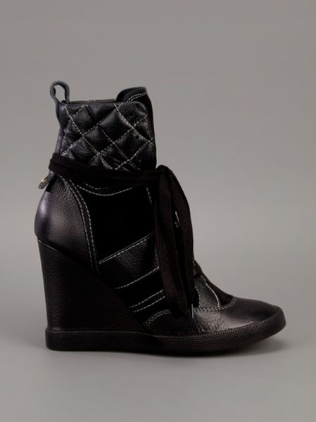 chlo hightop wedge sneakers in black lyst. Black Bedroom Furniture Sets. Home Design Ideas