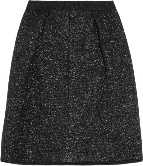 Marc Jacobs Metallic Woolblend Bouclé Skirt in Black