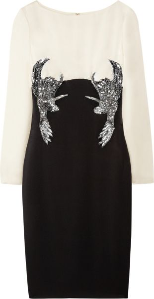 Marchesa Embellished Twotone Silkcrepe Dress in Black