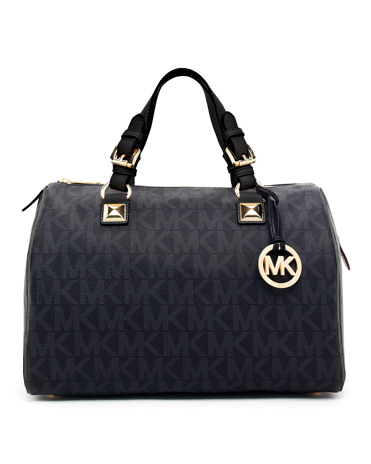 michael michael kors grayson large logo satchel in black lyst. Black Bedroom Furniture Sets. Home Design Ideas