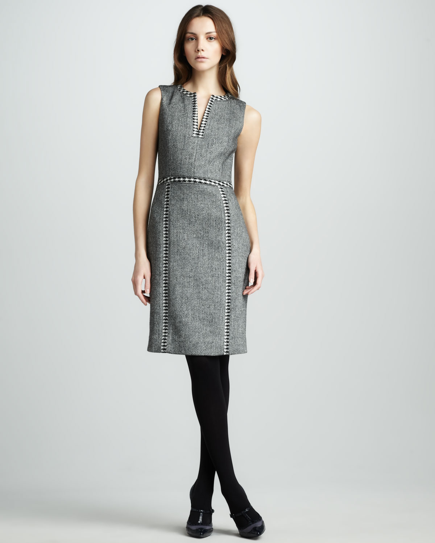 aabb5183e0b5 Lyst - Tory Burch Cornelia Tweed Dress in Gray