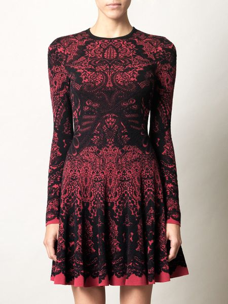 Alexander Mcqueen Victorian Lace Jacquard Knit Dress In