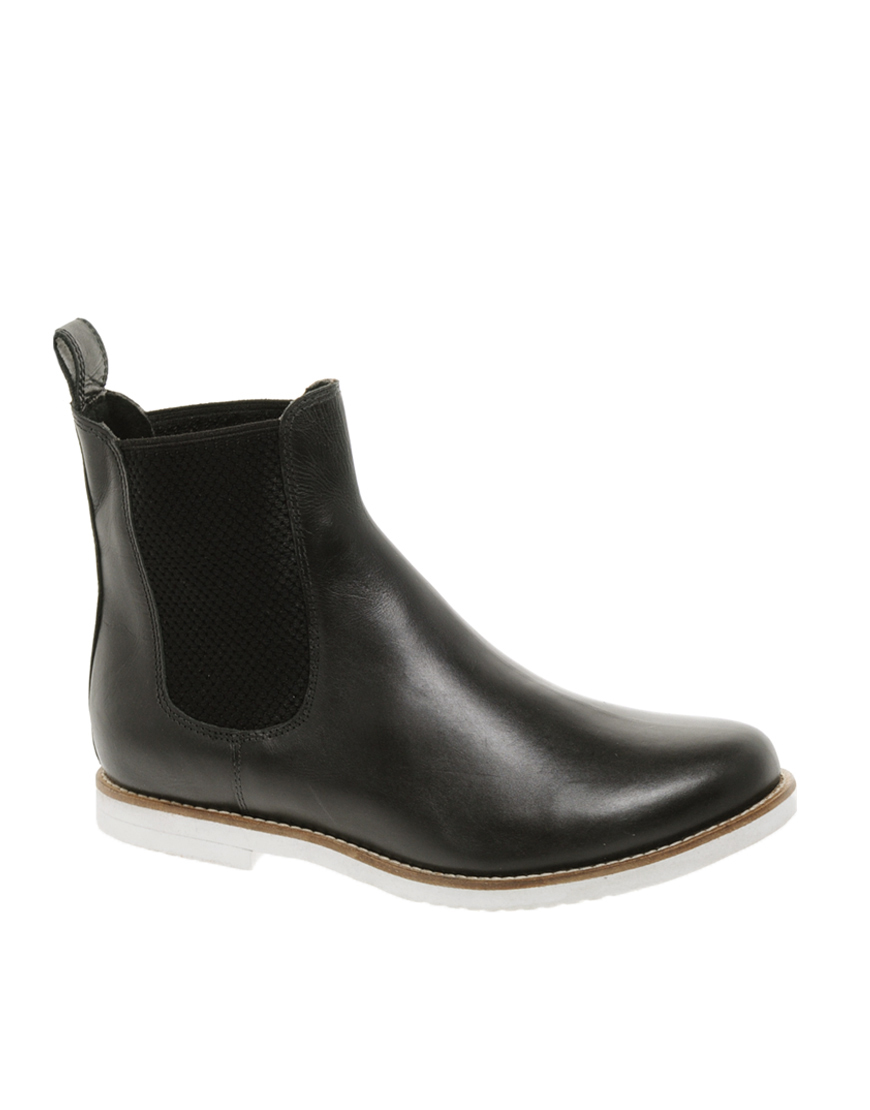 asos asos alibi leather chelsea ankle boots in black