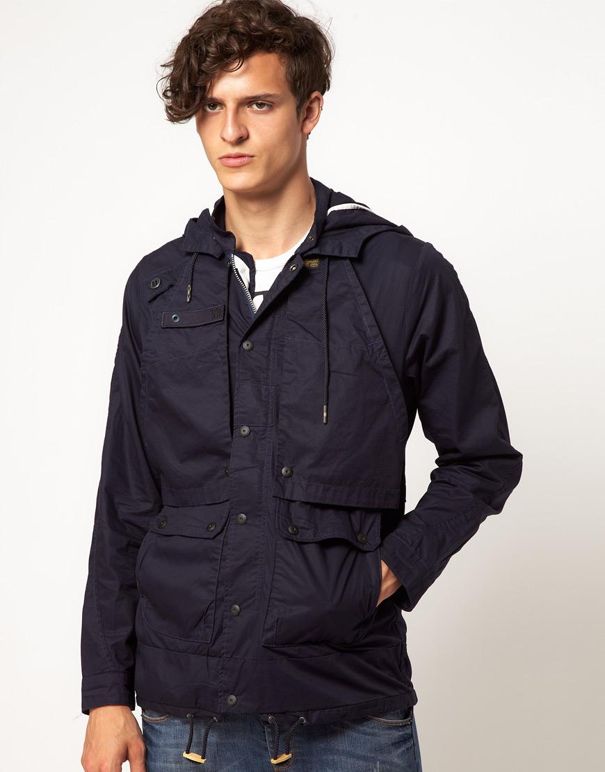 star raw stern hooded parka jacket in blue for men lyst. Black Bedroom Furniture Sets. Home Design Ideas