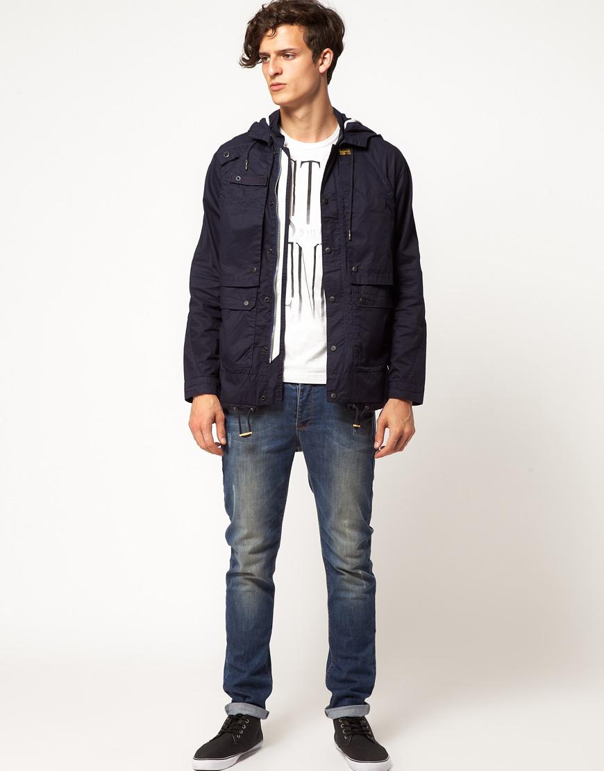 g star raw stern hooded parka jacket in blue for men lyst. Black Bedroom Furniture Sets. Home Design Ideas