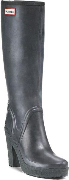 Hunter Rain Boots Lonny High Heel In Green Black Lyst