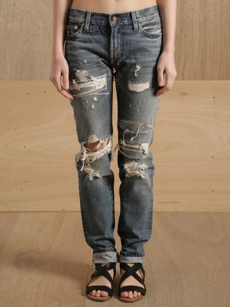 Levi's Levis Vintage Clothing 505 Jeans Cust Light Ripped in Blue