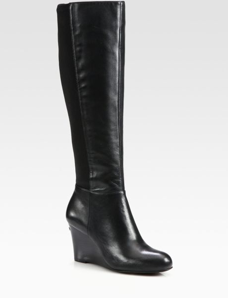 michael michael kors bromley leather wedge kneehigh boots