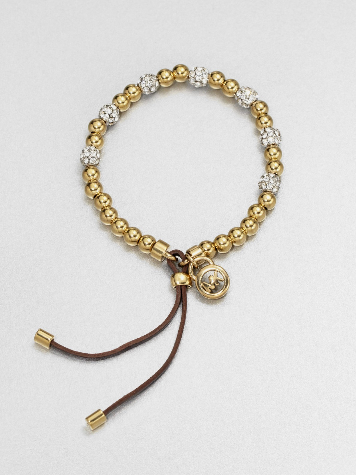 1a5fa6083699 Lyst - Michael Kors Beaded Stretch Bracelet in Metallic