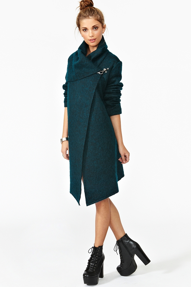 Nasty gal Christopher Wool Coat in Green | Lyst