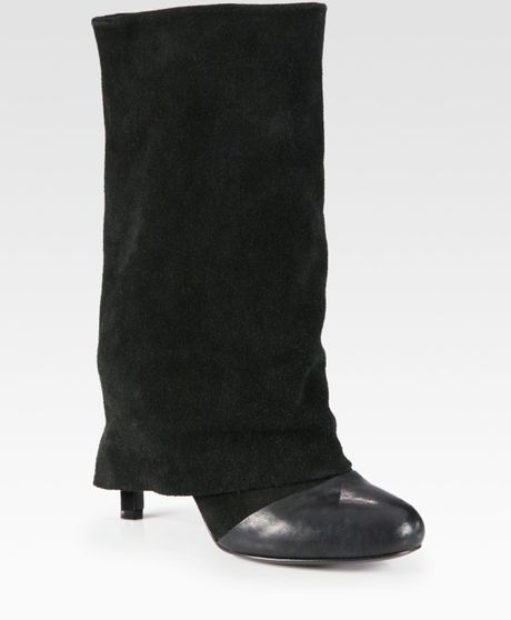 see by chlo 233 slouchy leather and suede boots in black lyst