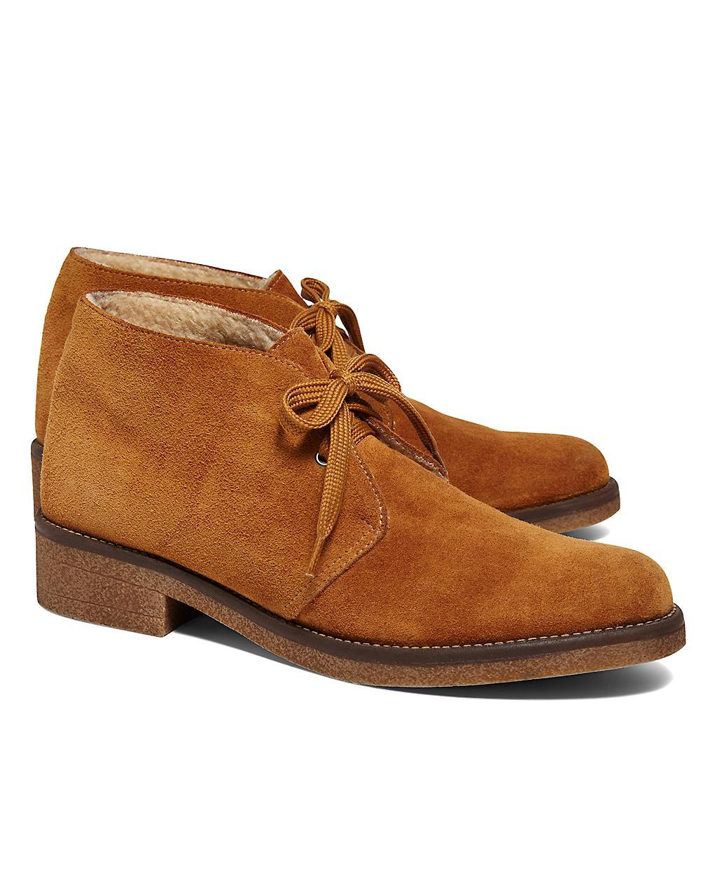 brothers calfskin suede desert heel boot in brown