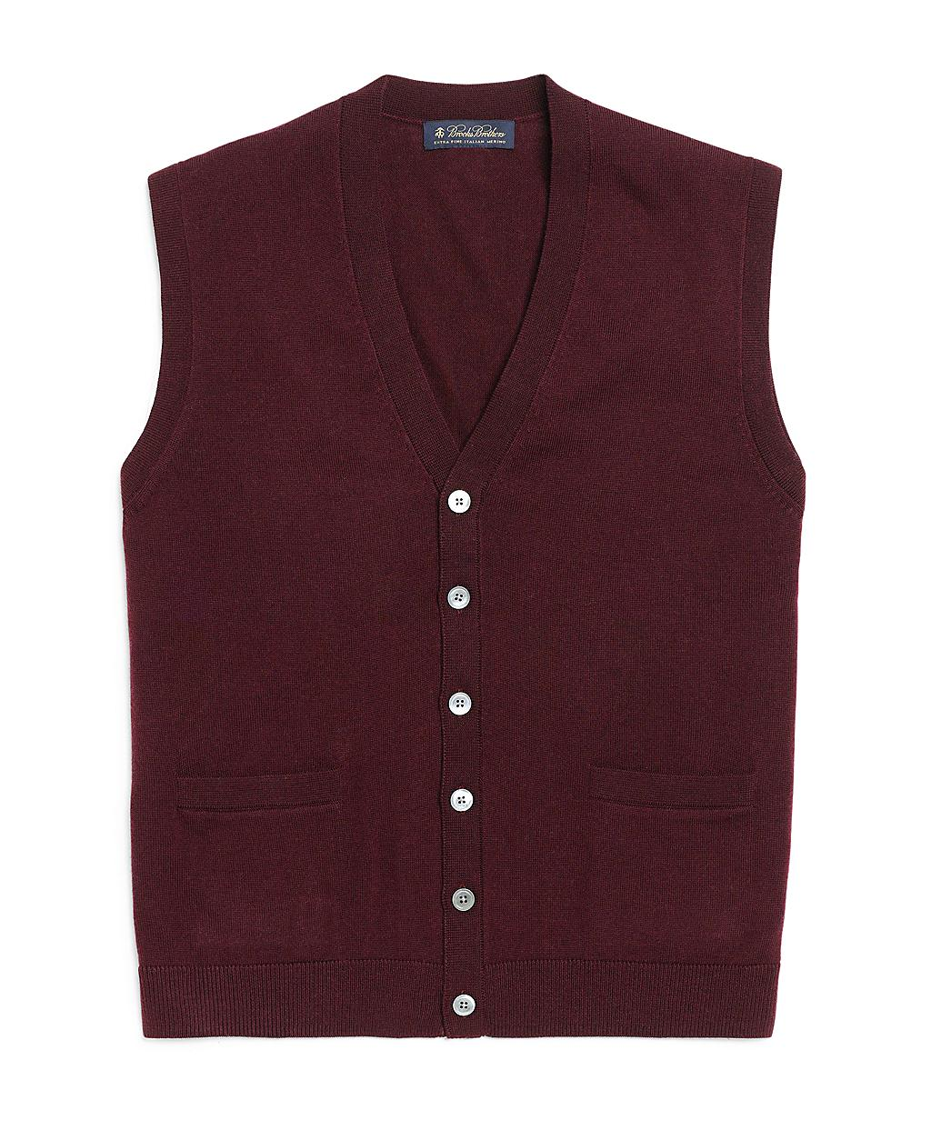 Brooks Brothers Button Down Merino Vest In Red For Men