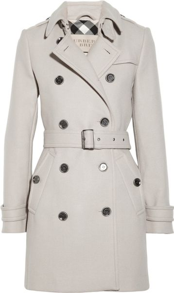 Burberry Brit Doublebreasted Woolblend Trench Coat in Gray