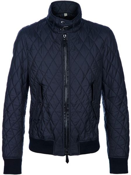 Burberry Quilted Jacket In Blue For Men Navy Lyst