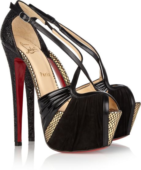 Christian Louboutin Divinoche 160 Suede and Textured Leather Sandals in Black - Lyst