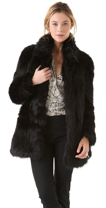 Dkny Faux Fur Coat With Ponte Insets In Black Lyst