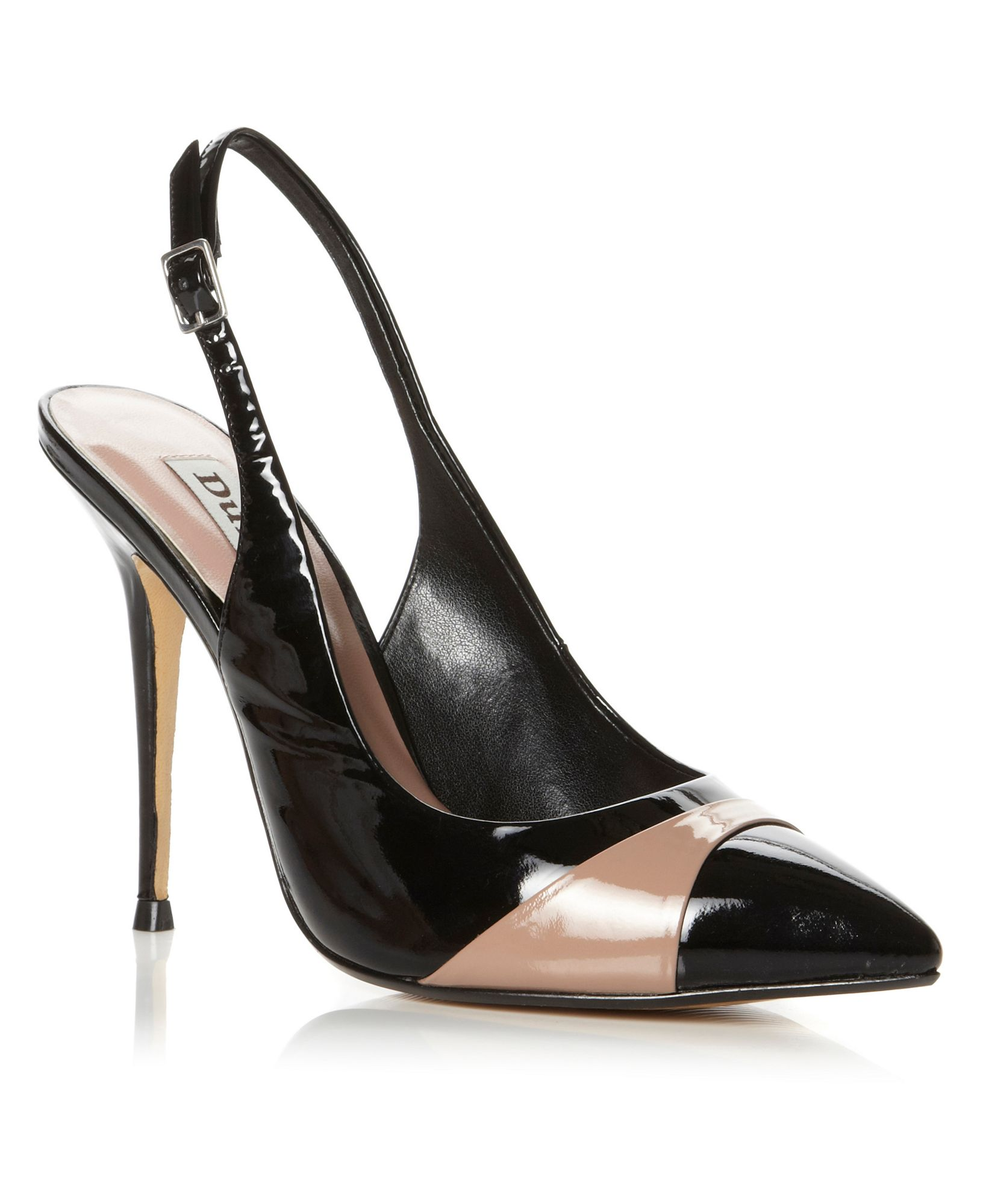 dune charford patent slingback court shoes in black lyst