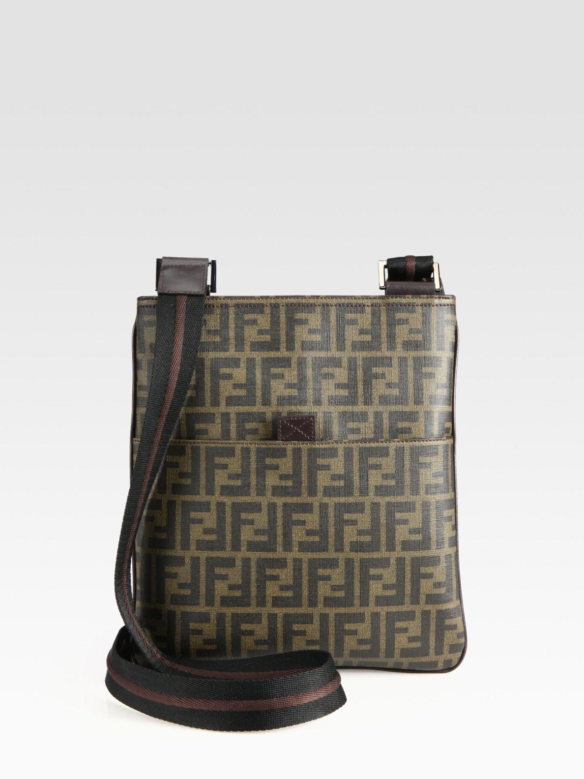 ... sale lyst fendi zucca small messenger bag in black for men 7ef90 75913  ... d95e0e65d86c7